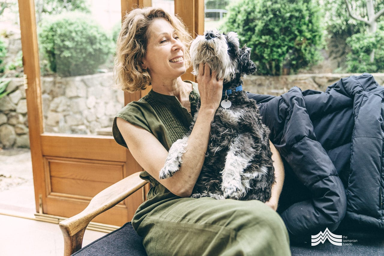 Tonya Gilbett with dog on sofa