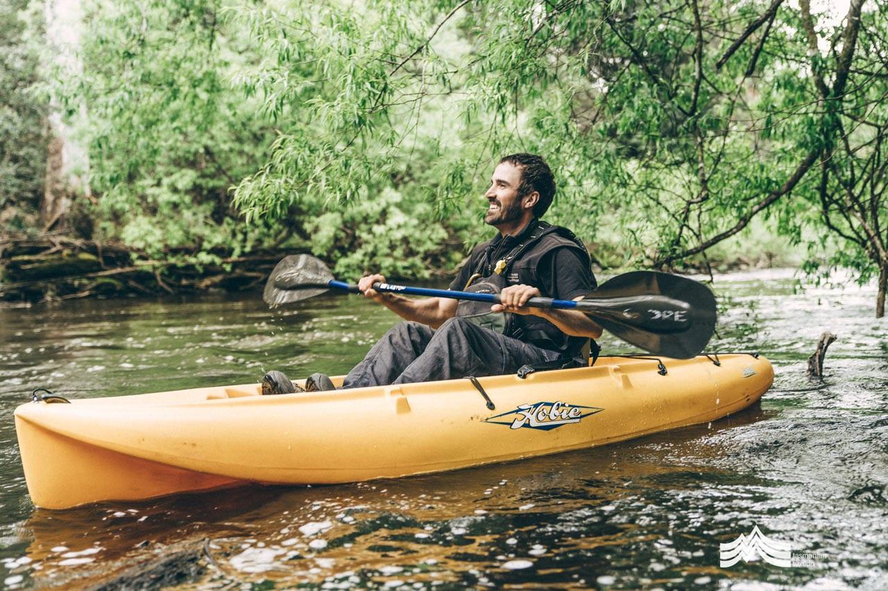 Liam from Tassie Bound Tours in Kayak on upper Derwent River