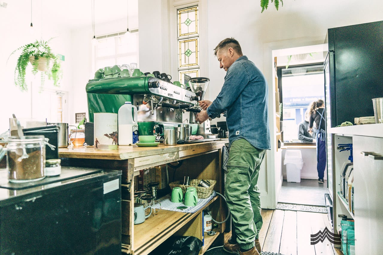 Tim Daly making coffee Dispatch Cafe New Town Tasmania