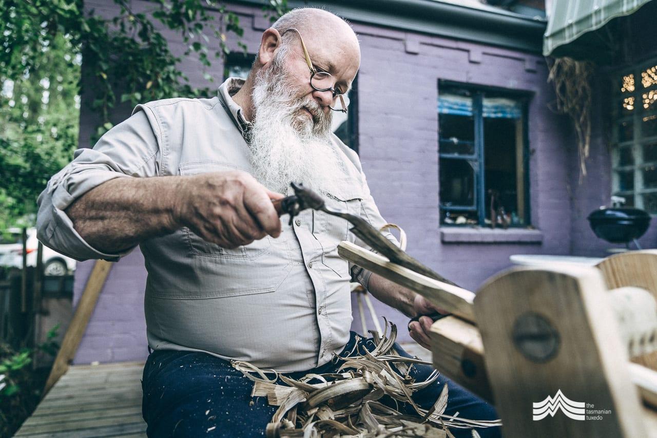 Jon Grant crafting a chair