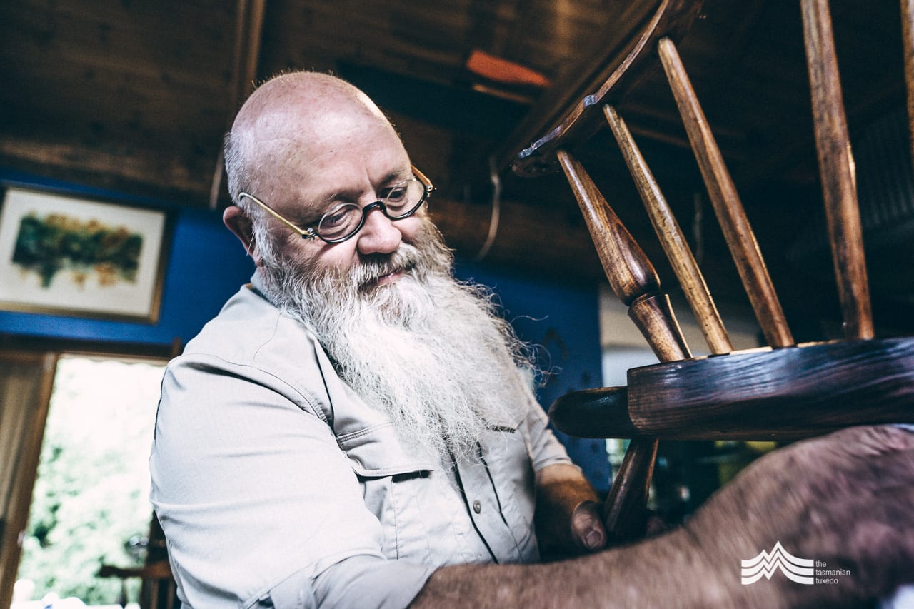Jon Grant in the workshop with Windsor Chair