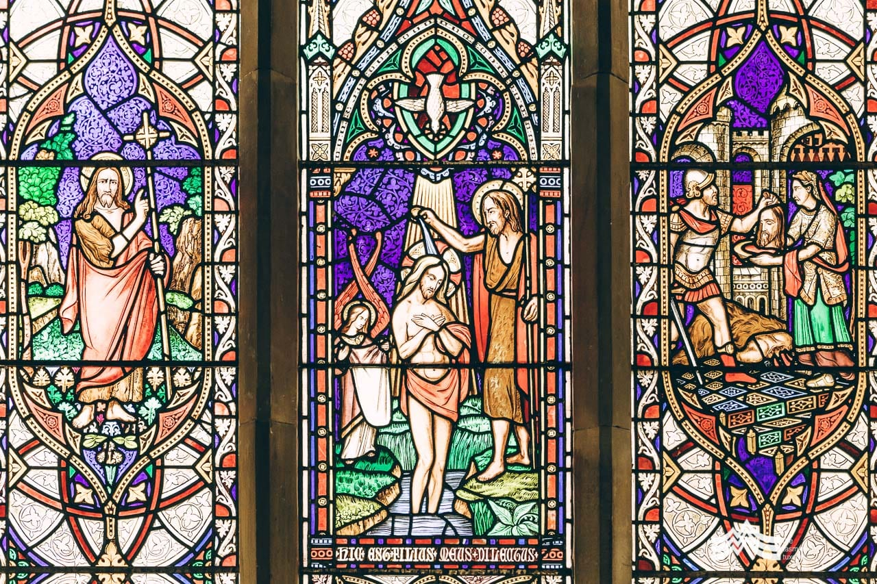 Buckland Church Tasmania stainglass window close up