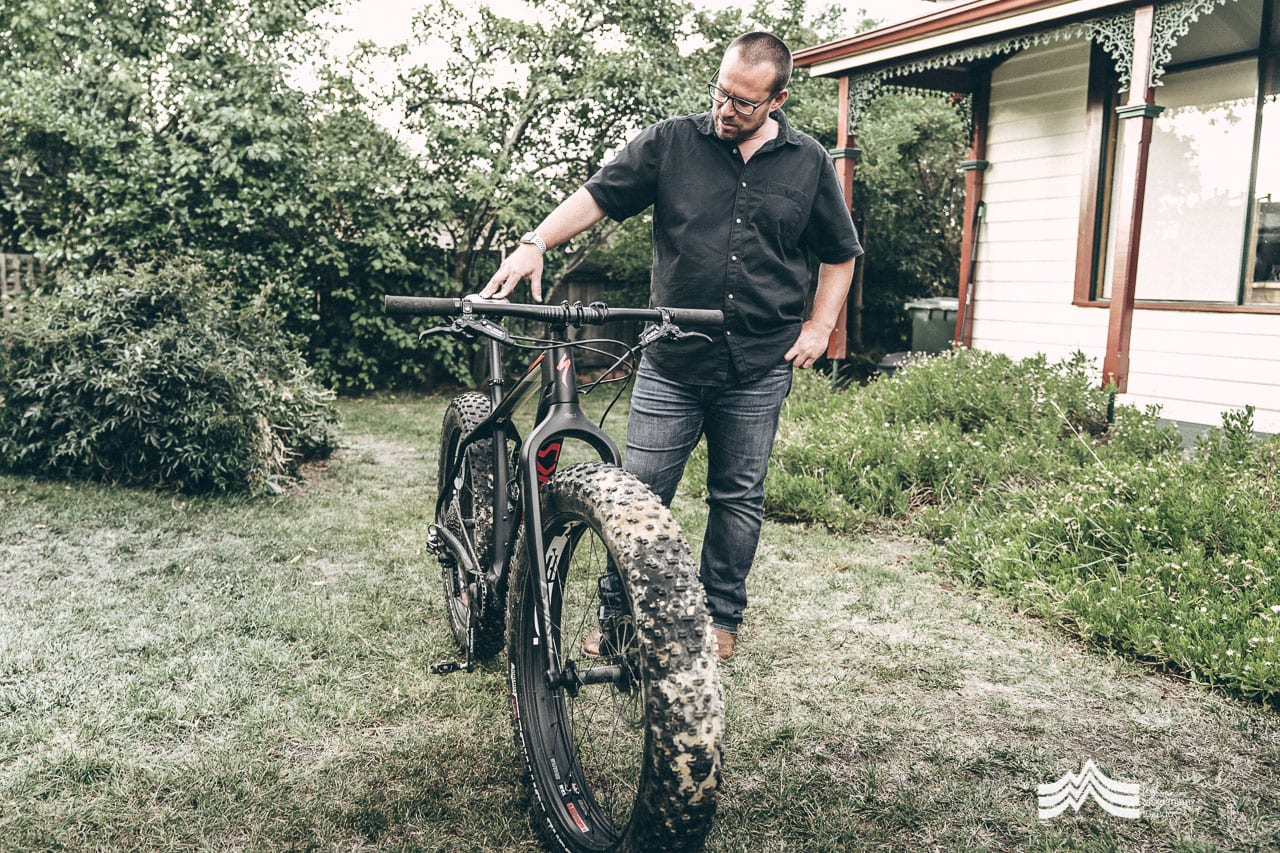 Dave Shering with mountain bike in Richmond Tasmania