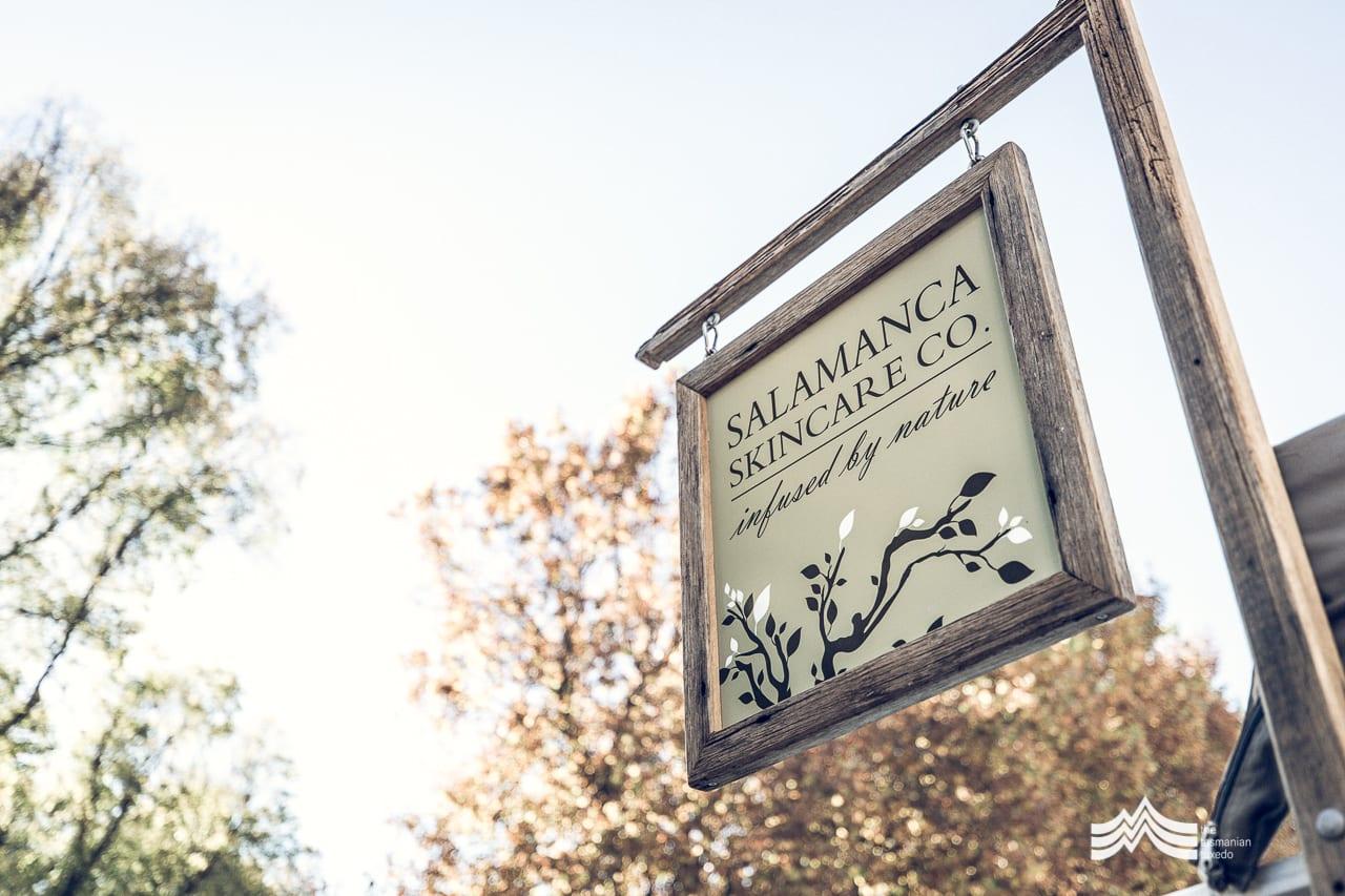 Salamanca Skincare Company sign at Salamanca Market