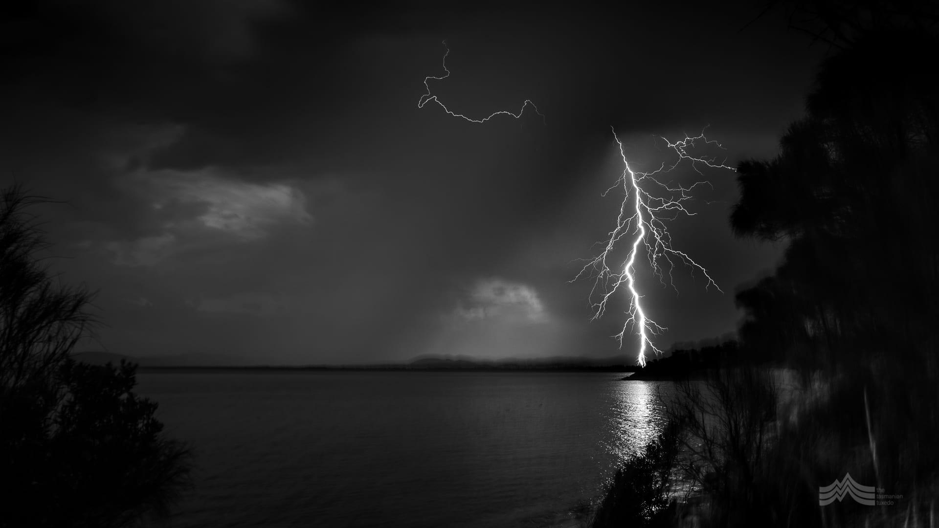 moody photo of lightening strike, Dodges Ferry Tasmania